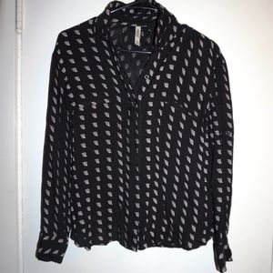 RVCA Long Sleeve Button Up All Over Print Size XS